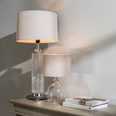 ... Clifton Round Glass Table Lamp With Shade | One World