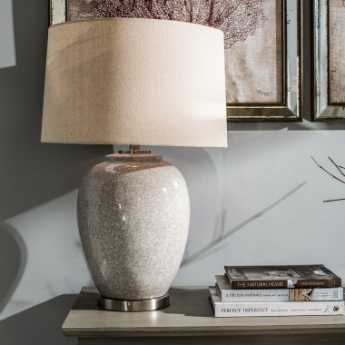 ... Glazed Ceramic Table Lamp With Nat Linen Shade | One World
