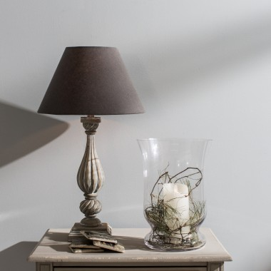... Mowbray Tear Drop Style Ribbed Lamp With Dark Grey Shade | One World