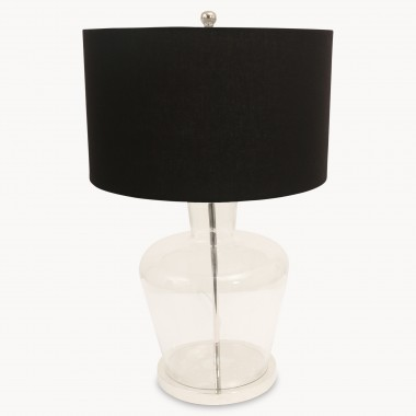 Table lights one world clifton glass table lamp on metal base with shade one world aloadofball Image collections
