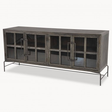 Woodcroft Gl Fronted Rustic Black Oak And Iron Sideboard One World