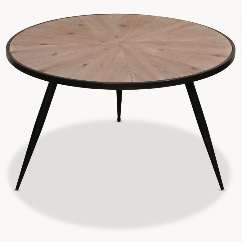 Granville Round Iron And Wood Side Table One World