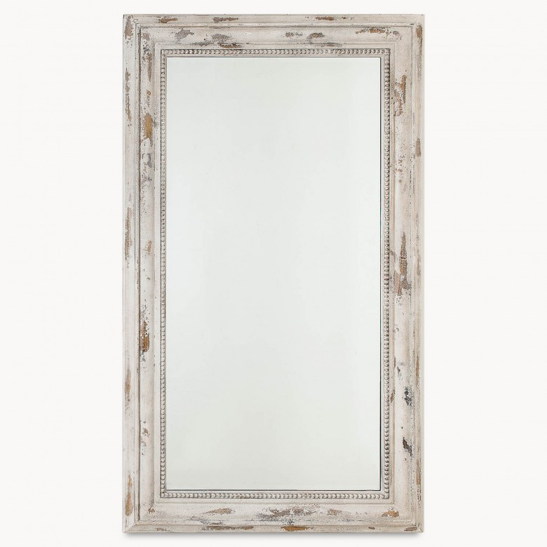 Heathfield Distressed Cream Wash Rectangular Mirror Mirrors One World