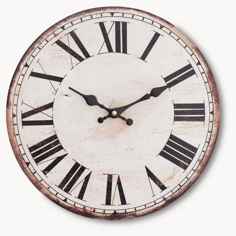 Kentfield Antique White Wall Clock With Roman Numerals