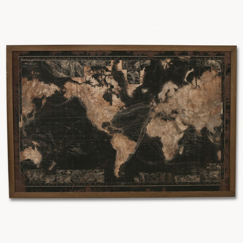 Hooks signs wall decor one world robertson world map with led lighting one world sciox Image collections