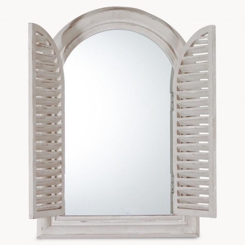 Wilton Grey Shutter Mirror Arched One World