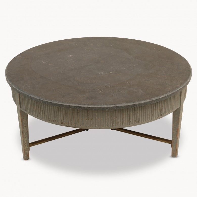 Woodcroft Colonial Grey Round Stone Top Coffee Table