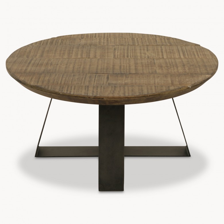 Round Metal Coffee Table Bases: Woodcroft Round Oak Coffee Table On Metal Base
