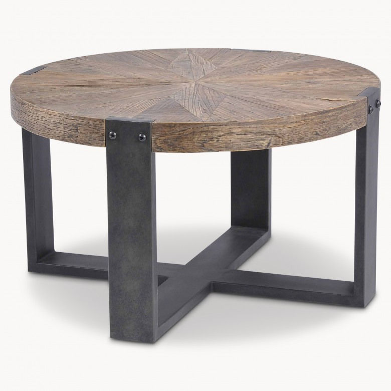 Low Rustic Coffee Table: Woodcroft Round Reclaimed Elm Side Table