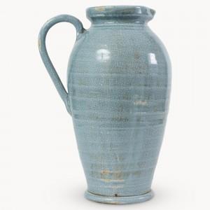 Jug, blue, crackle glaze
