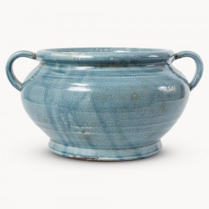 bowl, dish, planter, blue, crackle glaze