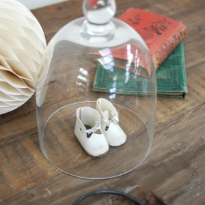 Glass cloche with vintage shoes