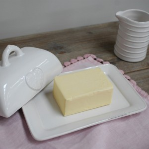 ceramic butter dish with heart motif - mothers day gift ideas