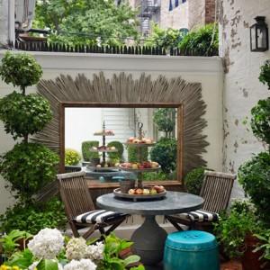 mirror in a city garden