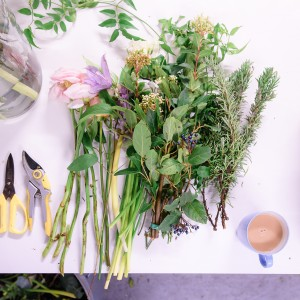 Arranging summer flowers