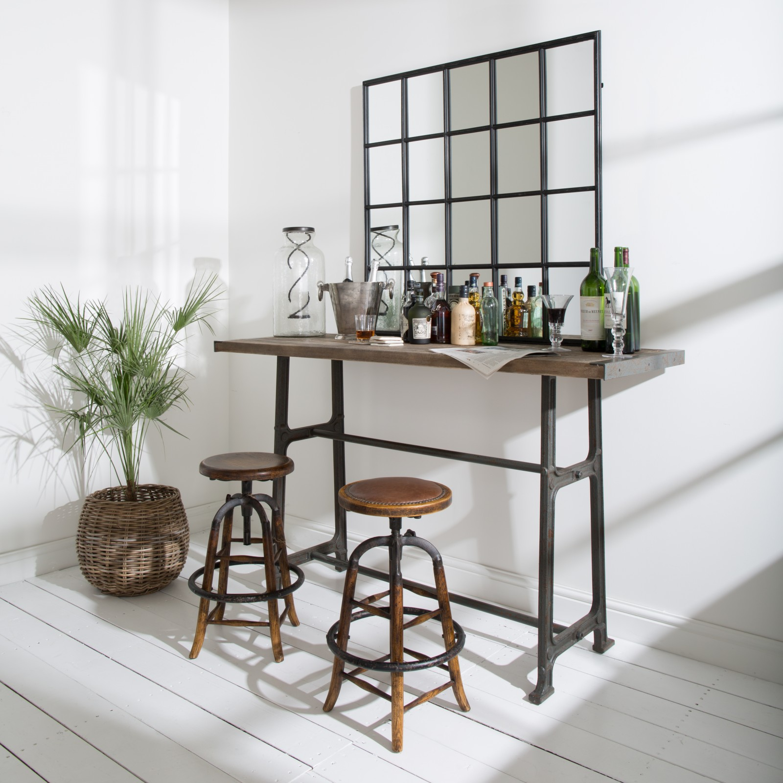 woodcroft wood and metal bar stool seating one world