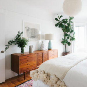 fiddle leaf fig in the bedroom
