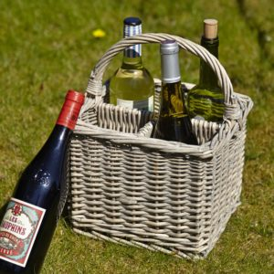 Willow four bottle wine carrier with wine