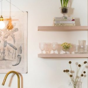 Open kitchen shelving with vintage style glassware