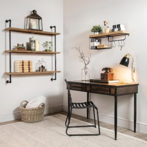 Office space with metal shelving