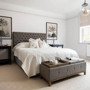 Bedroom with botanical prints